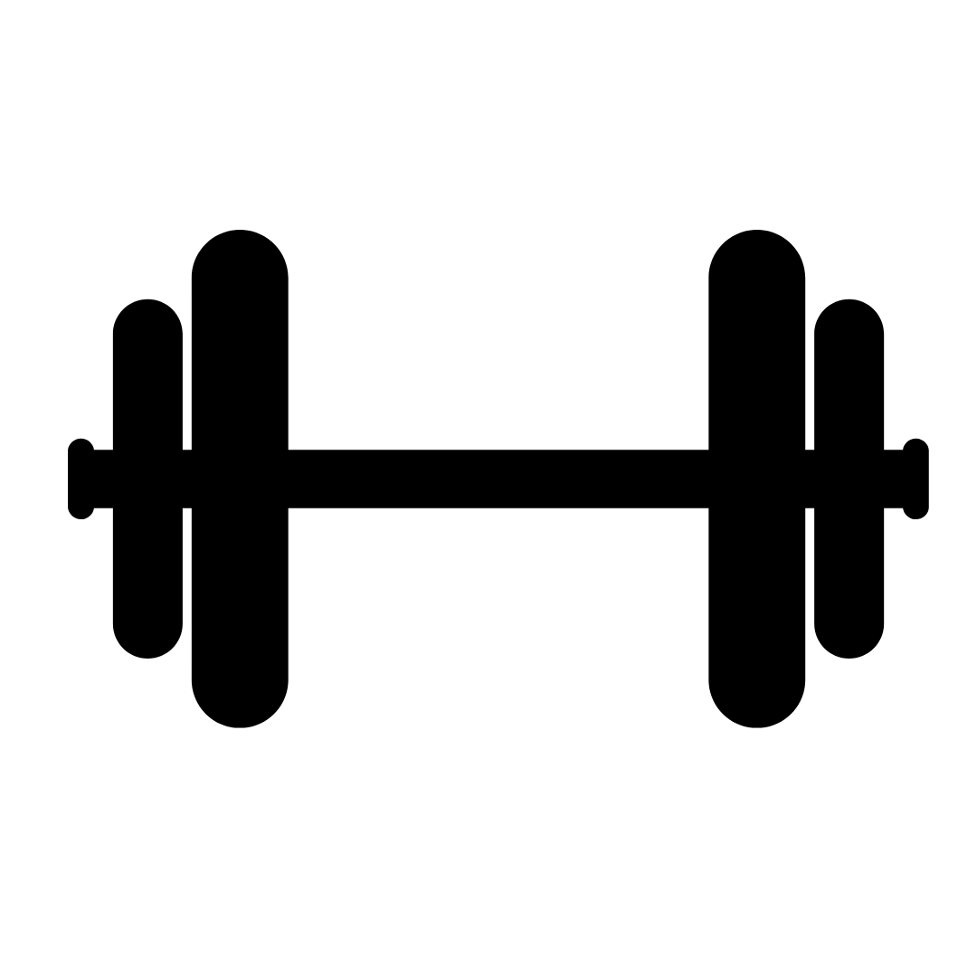 Black dumbbell in a white circle